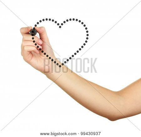 Female hand  drawing heart isolated on white