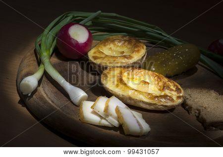 Baked Potato, Salted Lard And Onion, Light Brush