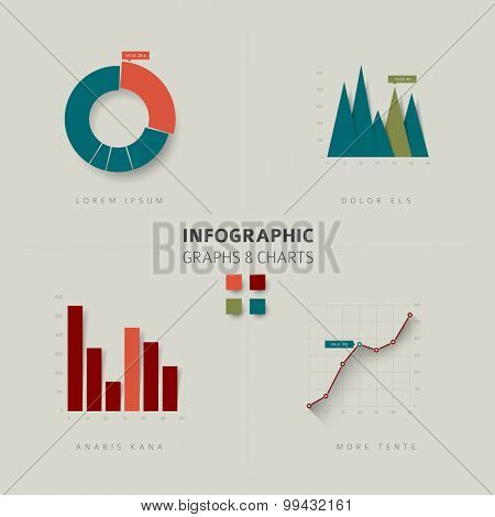 Set of vector flat design infographics statistics charts and graphs - retro color version