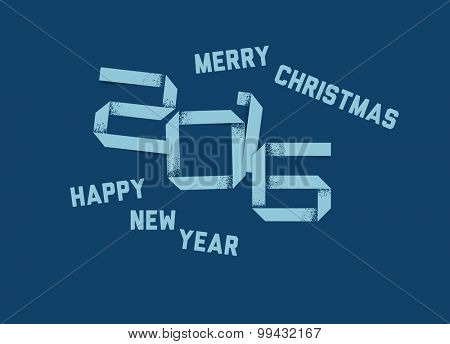Vector simple Happy new year card (2016) made from grunge paper font