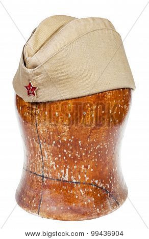 Military Green Field Cap With Soviet Red Star Sign