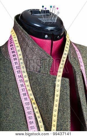 Tailoring Of Man Tweed Jacket On Mannequin