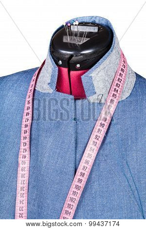 Tailoring Of Man Silk Jacket On Dummy Isolated