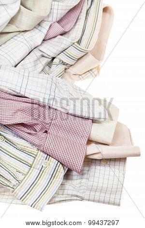 Several Shirts Cuffs And Collars Close Up