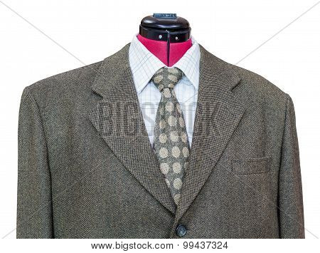 Green Tweed Jacket With Shirt And Tie Close Up