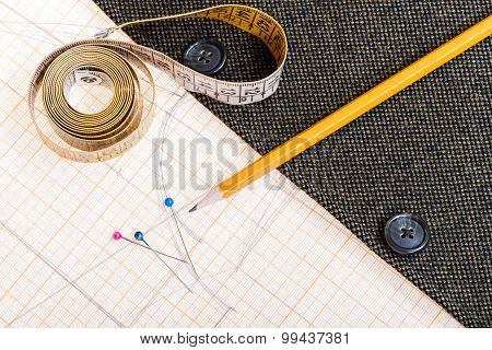 Pattern, Measure Tape, Pencil, Pins, Jacket