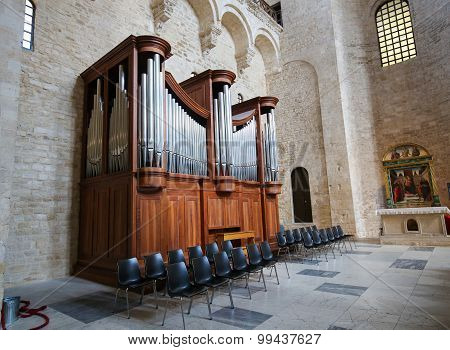 BARI, ITALY - MARCH 16, 2015: Organ in the Basilica of Saint Nicholas a church dedicated to Saint Nicholas of Smyrna a famous pilgrimage site in Bari Puglia Southern Italy