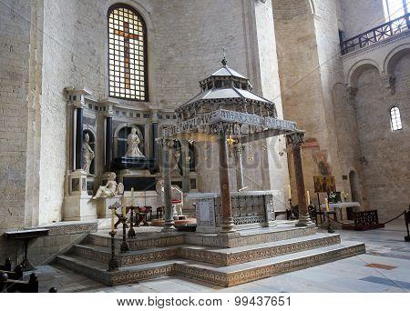 BARI, ITALY - MARCH 16, 2015: Ciborium (created around 1110) of the Basilica of Saint Nicholas a church dedicated to Saint Nicholas of Smyrna a famous pilgrimage site in Bari Puglia Southern Italy