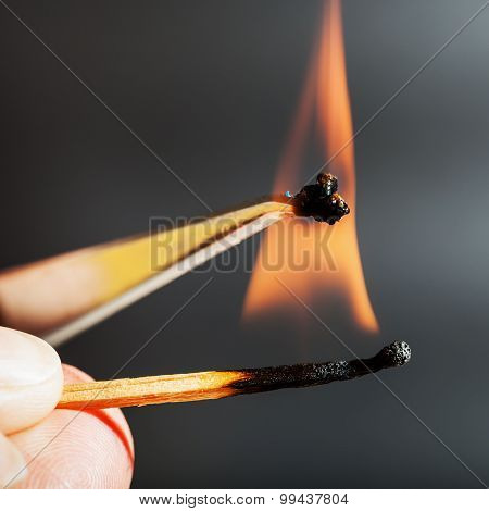 Match Flame Ignites Synthetic Tissue Sample