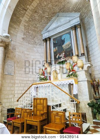 Cana, Israel  July 8, 2015: The Altar In The Church Of The First Miracle, Changing Water Into Wine,