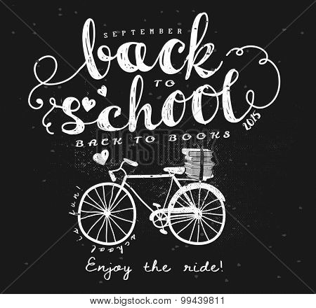 Back to School Blackboard Vintage Typography Label - Hand drawn vintage style typography label on blackboard, with doodle bicycle and books