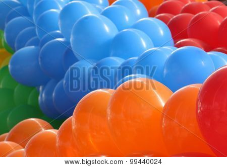 Orange, blue and red balloons