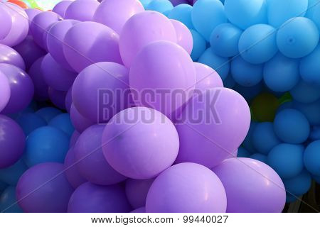 Violet and blue balloons
