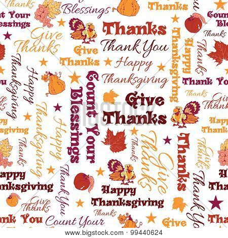 Vector Happy Thanksgiving Text Seamless Pattern. Typographic. Blessings, give thanks. Canadian, Amer