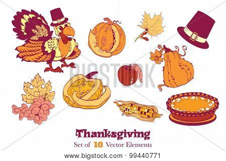 Ten Thanksgiving Design Elements. Turkey pumpkin corn pie grapes. Plenty cornucopia abundance