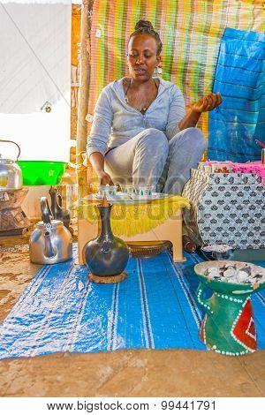 Ethiopian Woman Preparing Tea