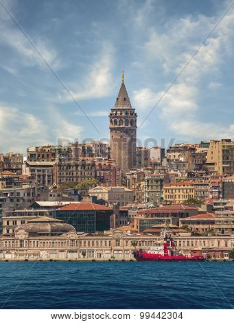 Galata Tower and Bosphorus in Istanbul Turkey
