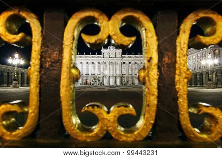 Looking through gate to Royal Palace, Madrid, Spain