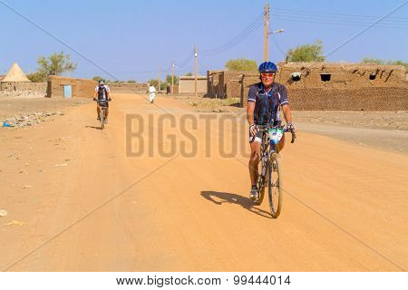 Man On The Bicycle In Sudan