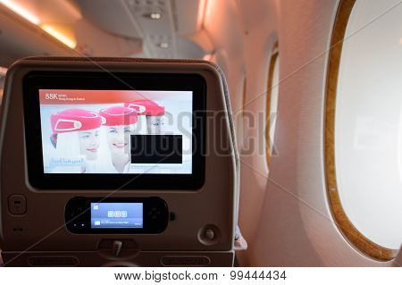 HONG KONG - MARCH 09, 2015: Emirates Airbus A380 aircraft interior. Emirates handles major part of passenger traffic and aircraft movements at the airport.