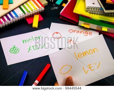 Learning New Language Making Original Flash Cards; Japanese
