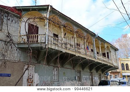 Tbilisi,Georgia-March,2 2015: Old wooden balcony-terrace in Tbilisi, Georgia