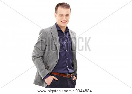 Young male fashion model posing isolated on white background