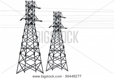 illustration with electric pylons isolated on white background
