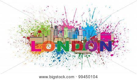 London Skyline Paint Splatter Color Text Illustration