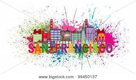 San Francisco Skyline Paint Splatter Illustration