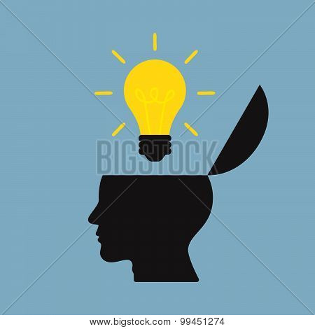 Bright Light Bulb On Top Of Opened Human Head
