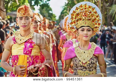 Balinese People In Traditional Costumes