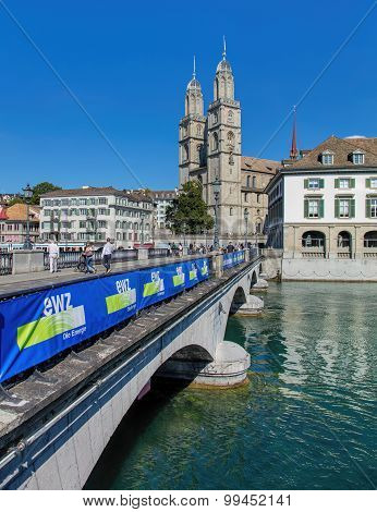 Munsterbrucke Bridge And Grossmunster In Zurich