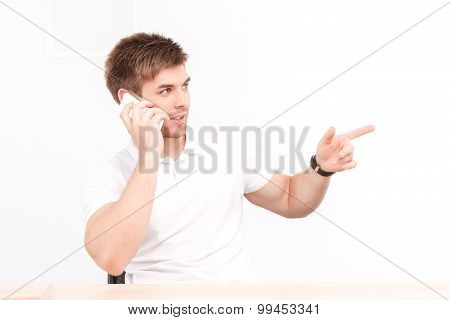 Young businessman with his smartphone