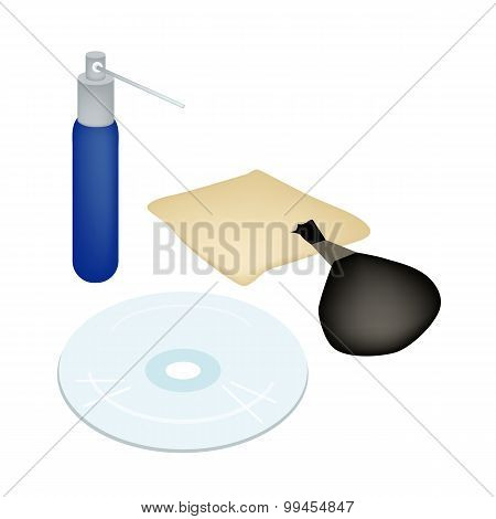 CD or DVD with Cleaner Accessories and Solution