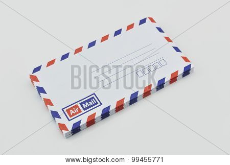 Stack Of Air Mail Envelopes On White Background