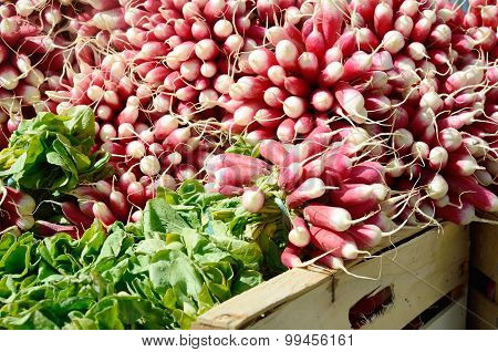 Radishes on market stall