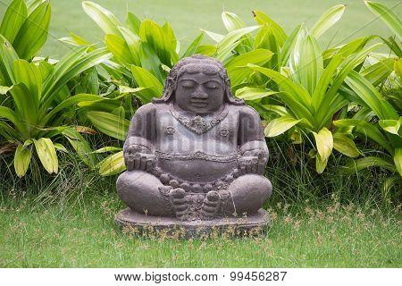 Traditional Stone Sculpture In Garden .  Bali, Indonesia