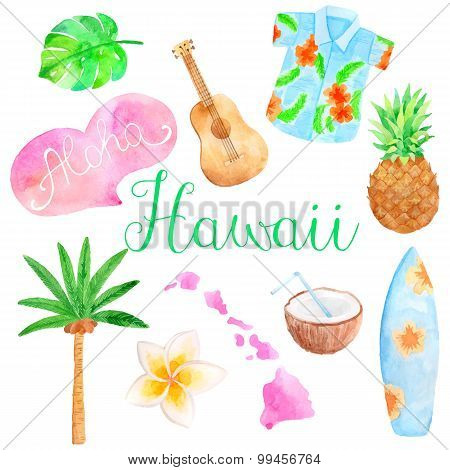 Watercolor Hawaii set