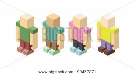 Isometric Set Of Colored Figurines Man