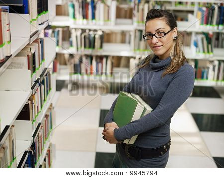 Portrait Of Girl In Library