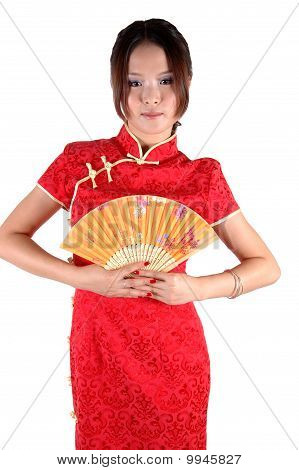 Chinese Girl In Traditonal Dress With Fan