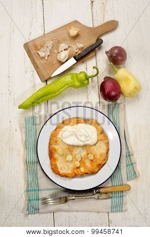 Hungarian Langos With Sour Cream And Garlic