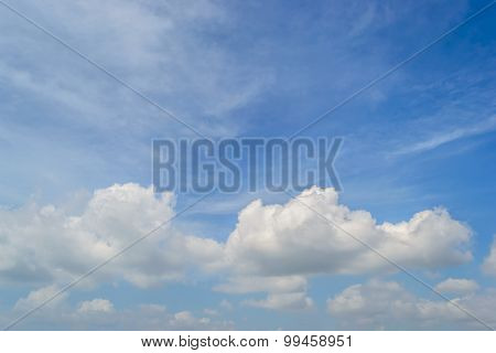 Beautiful summer blue sky with wispy cloud