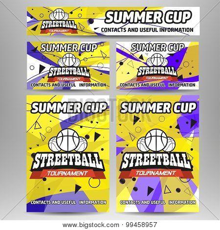 Streetball and basketball set