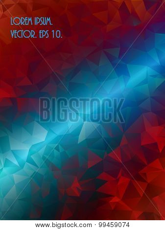 Blue and red, burning Polygonal Mosaic Background, Vector illustration,  Creative  Business Design T
