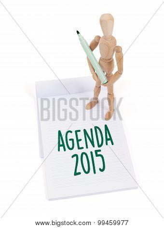 Wooden Mannequin Writing - Agenda 2015