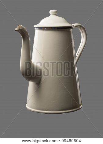 Old Coffee Pot Isolated On Grey Backdrop