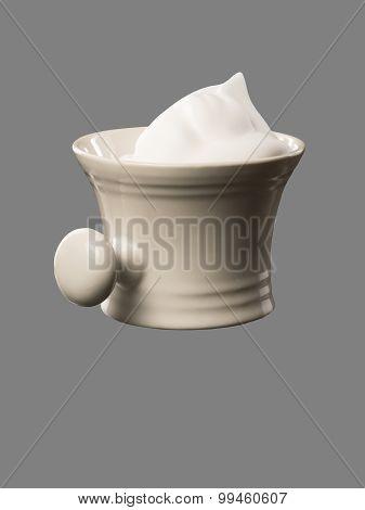 Shaving Mug With Shaving Foam Isolated On Grey Backdrop
