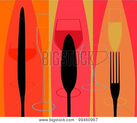 Menu With Cutlery And Glasses